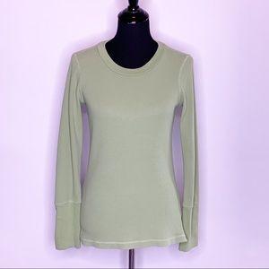 Sundance green thermal long sleeve button cuff top M